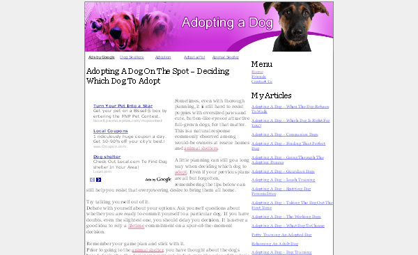 Product picture Adopting A Dog Adsense Content Website
