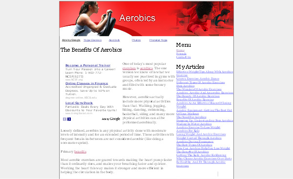 Product picture Aerobics Adsense Content Website