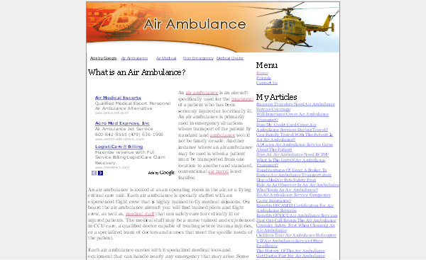 Product picture Air Ambulance Adsense Content Website