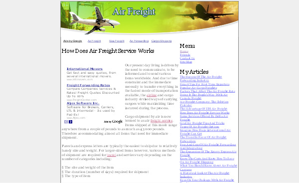 Product picture Air Freight Adsense Content Website