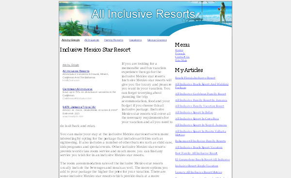 Product picture All Inclusive Resorts Adsense Content Website