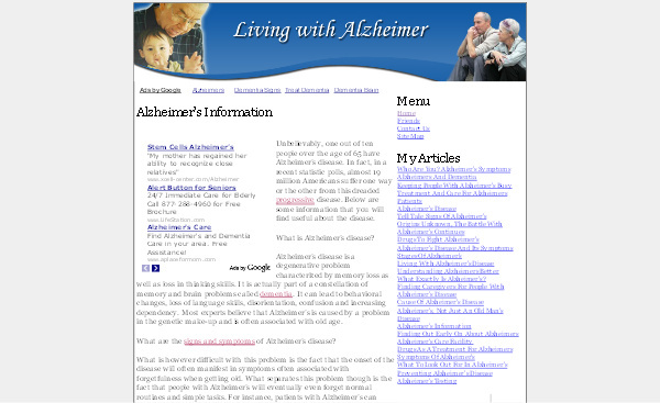 Product picture Alzheimers Adsense Content Website