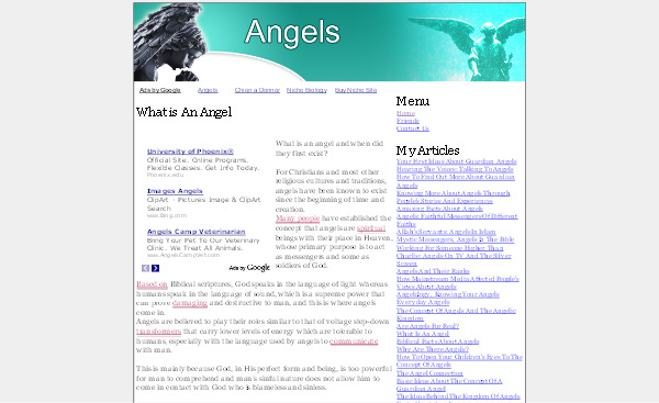 Product picture Angels Adsense Content Website