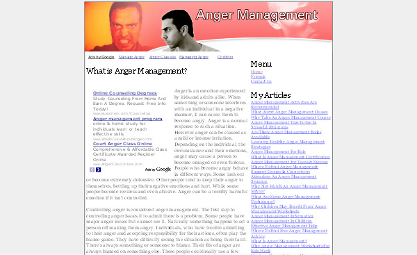 Product picture Anger Management Adsense Content Website