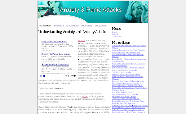 Product picture Anxiety Panic Attacks Adsense Content Website