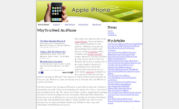 Product picture Apple Iphone Adsense Content Website