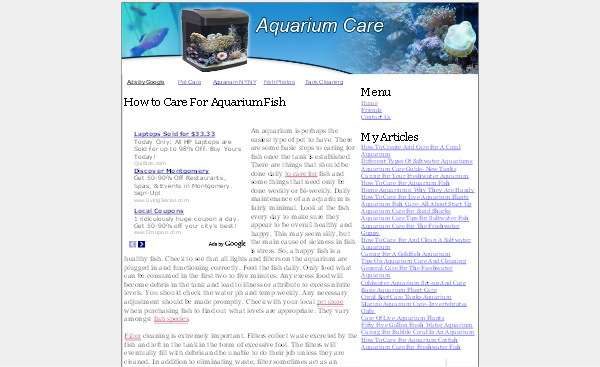Product picture Aquarium Care Adsense Content Website