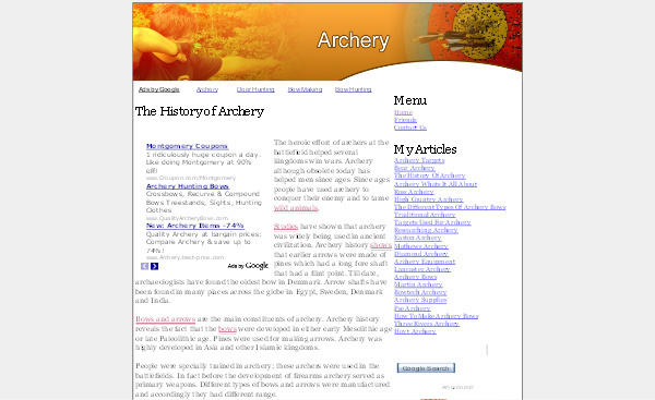 Product picture Archery Adsense Content Website